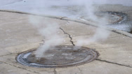 Stock Video Footage of Steaming Manhole Covers