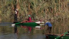 FIshermen on the Nile river, Egypt, closeup Stock Footage