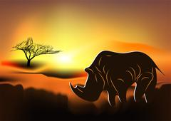 Africa. rhinoceros Stock Illustration