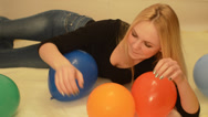 Stock Video Footage of Beautiful girl and colorful balloons
