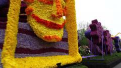 Keukenhof flower parade with floats abundantly decorated with flowers Stock Footage