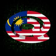 Stock Illustration of e-mail address at symbol with malaysian flag on hex illustration