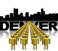 Lines of people with denver skyline illustration Stock Illustration
