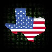 Texas kartta lipun dollarin symbolit kuva Piirros
