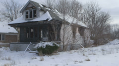 Driving Shot Abandoned House Blight Detroit Ghetto Burned Homeless Crack House Stock Footage