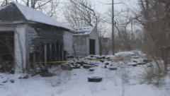 Detroit Abandoned House Ghetto Run Down Vacant Blight Burn Out Building In Snow Stock Footage