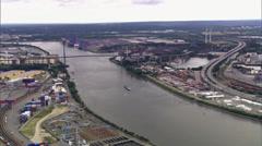 Hamburg Aerial Shot of Köhlbrand bridge, Hamburg Stock Footage