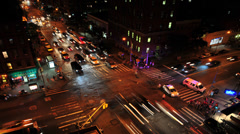 HD-NYC Busy Intersection at Night - Time lapse Stock Footage
