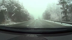 Snowy road, pov, car point of view HD Stock Footage