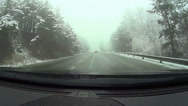 Stock Video Footage of Snowy road, pov, car point of view HD