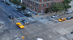 NYC Busy Midtown Intersection Overhead View Stock Footage
