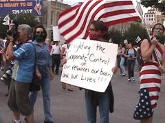 Anti-Globalization Protestors Demonstrate in Austin, Texas Stock Footage