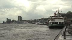 Elbe River traffic near Landungsbrücken, Hamburg Stock Footage