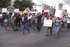 Anti-Globalization Protestors on Congress Avenue in Austin, Texas Stock Footage
