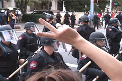 Peace and Riot Police at Anti-Globalization Protest in Austin, Texas - stock footage
