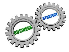 Business strategy in silver grey gears Stock Illustration