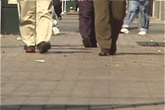 Feet of Businessmen on Congress Avenue in Austin, Texas - stock footage