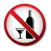 sign no alcohol 2d - stock illustration
