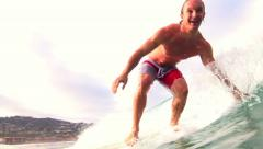 Surfing Riding Wave On Longboard, Summer HD Stock Footage