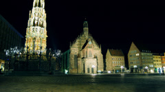 Nuremberg Hauptmarkt night,time lapse,4k Stock Footage