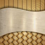 Abstract wooden texture with wickerwork, birch and curves Stock Illustration