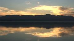 Stunning otherworldly sunset reflection Stock Footage
