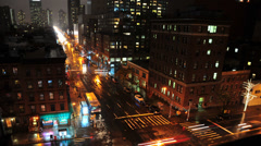 HD - NYC Rainy 10th Ave Night Traffic - TIme Lapse Stock Footage