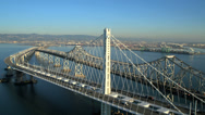 Stock Video Footage of Aerial view New Bay Suspension Bridge, San Francisco, USA