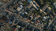 Aerial roads and homes in suburban San Francisco, USA Stock Footage