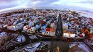 Stock Video Footage of Reykjavik Town Center From Church Tower Wide