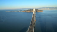 Stock Video Footage of Aerial view Bay Bridge Treasure Island, San Francisco, USA