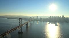 Aerial Oakland Bay Suspension Bridge, Skyscrapers, San Francisco, USA Stock Footage