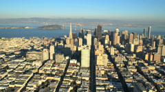 Aerial view Downtown San Francisco Oakland Bay bridge, USA Stock Footage