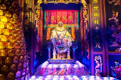 Statue of the Goddess of Mercy Guanyin at Lin Fa Temple Stock Photos