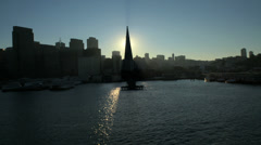 Aerial sunset view Port of San Francisco, USA Stock Footage