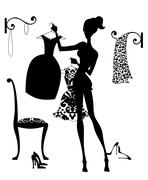 deciding what to wear - stock illustration