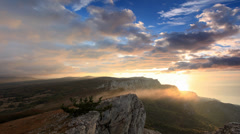 Timelapse sunrise in the mountains Ai-Petri. Alupka, Crimea, Ukraine.  - stock footage