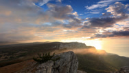 Stock Video Footage of Timelapse sunrise in the mountains Ai-Petri. Alupka, Crimea, Ukraine.