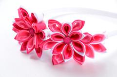Hoop for the girls of decoration of Kanzashi, photo for online shops Stock Photos