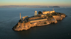 Aerial view The Rock Alcatraz Island, San Francisco Bay, USA Stock Footage