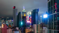 City Night Timelapse.  HD Tight Zoom In Shot. - stock footage
