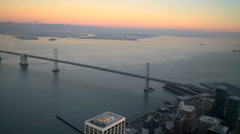 Aerial sunset view Oakland Bay Suspension Bridge Francisco Bay, USA - stock footage