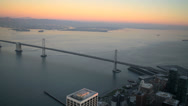 Stock Video Footage of Aerial sunset view Oakland Bay Suspension Bridge Francisco Bay, USA