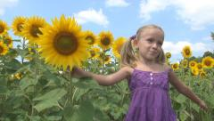 Girl, Child Playing, Staring Crop Sunflower Field, Children, Countryside, Farm - stock footage