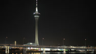 Stock Video Footage of The famous Macau Tower at night in HD