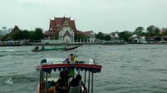 Thailand Bangkok 072 boats on the Chao Phraya River Stock Footage