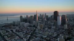 Aerial sunset view Transamerica Pyramid, San Francisco, USA Stock Footage