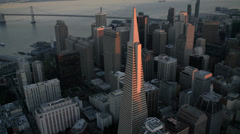 Aerial sunset view Transamerica Pyramid, San Francisco, USA Stock Footage
