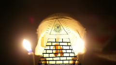 Illuminati pyramid free masons masonic Stock Footage