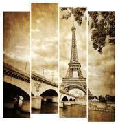 eiffel tower vintage retro in stripes, from seine river, paris - stock photo